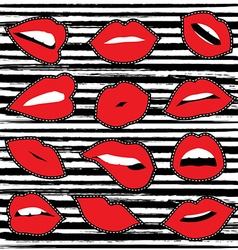 Girl lipstick mouth set for patch or sticker vector