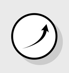 Growing arrow sign flat black icon in vector