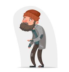 homeless bum poor male character beg help money vector image