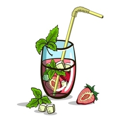 Isolated strawberry mojito vector