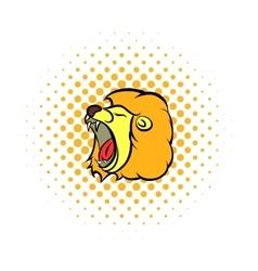 Lion head comics icon vector