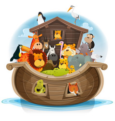 Noahs ark with cute animals vector