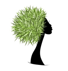 Organic hair care concept female head for your vector image vector image