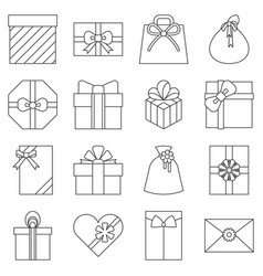 present envelop gift box and gift bag collection vector image vector image