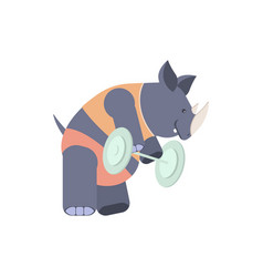 rhinoceros in a fitness center vector image vector image