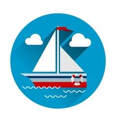 Sailboat flat icon with long shadow vector image vector image