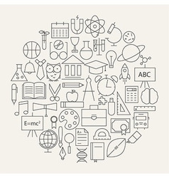 School and Education Line Science Icons Set vector image