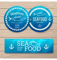 Seafood labels vector image
