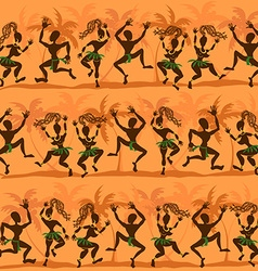 Seamless pattern of dancing african aborigines vector