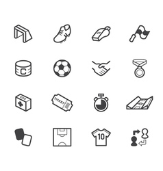 soccer black icon set on white background vector image vector image