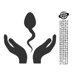 Sperm care hands icon with men bonus vector