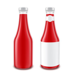 tomato ketchup bottle for branding with label vector image