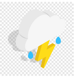 White cloud with lightning and rain drops icon vector