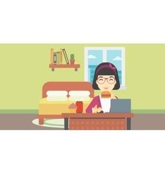 Woman eating hamburger vector image vector image