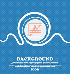 canoeing sign Blue and white abstract background vector image