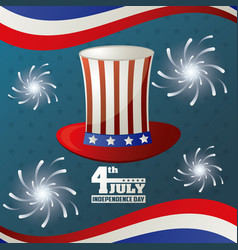 4th july independence day hat flag american vector image