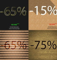 15 65 75 icon set of percent discount on abstract vector