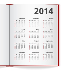 2014 calendar in notebook vector
