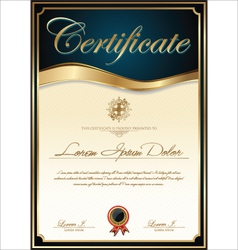 Elegant blue certificate template vector image
