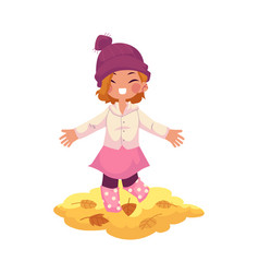 Girl throws autumn leaves up isolated vector