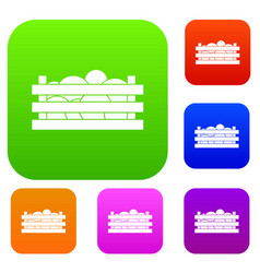 Watermelons in wooden crate set collection vector