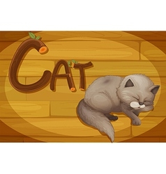 A wooden frame with a cat vector