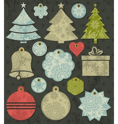 Vintage christmas labels over brown background vector