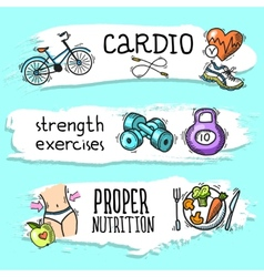 Fitness sketch banner set vector image