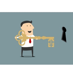 Cartoon businessman with golden key of success vector