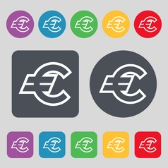 Euro eur icon sign a set of 12 colored buttons vector