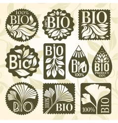 Bio product set of labels and stikers vector