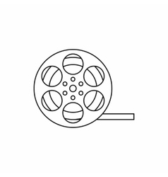 Film reel icon in outline style vector