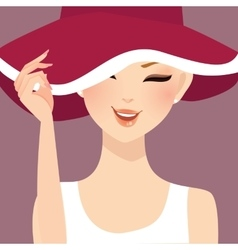beautiful woman lady female wearing hat smile vector image