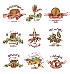 beer colored hand drawn emblems vector image vector image