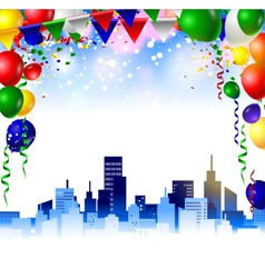 Birthday card with colorful balloons vector image