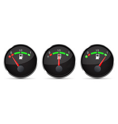 black fuel gauge empty half full level with vector image vector image