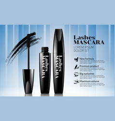 Black mascara white line and blue background vector