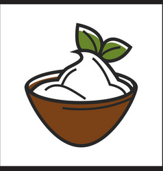 Bowl with sour cream vector