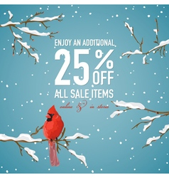 Christmas Sale Poster or Banner - with Winter Bird vector image vector image