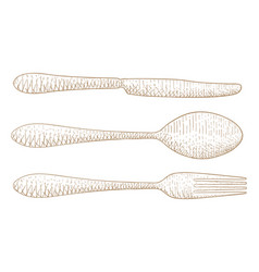 Cutlery set hand drawn sketch vector