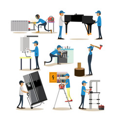 flat icons set of workers profession people vector image vector image