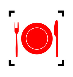 Fork knife and plate sign red icon vector