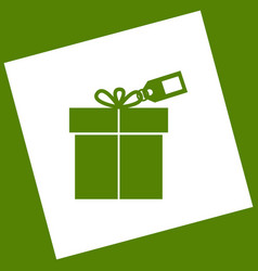 Gift sign with tag white icon obtained as vector