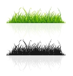 Green Grass and Black Silhouette Line Set vector image