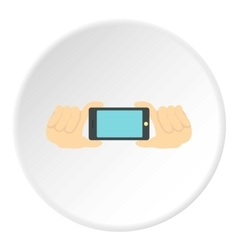 Hands with phone icon flat style vector