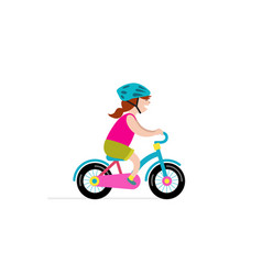 happy girl riding small bicycle vector image vector image