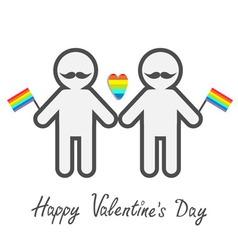 Happy Valentines Day Love card Gay marriage Pride vector image