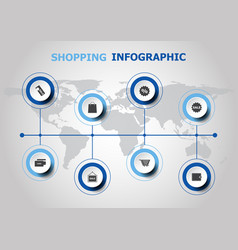 Infographic design with shopping icons vector