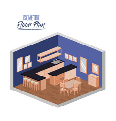 isometric floor plan of wide home kitchen room vector image