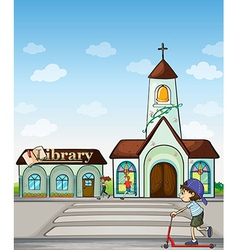 Joggers kid on a scooter church and library vector